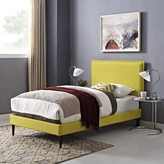 Modway Camille Fabric Platform Bed with Round Tapered Legs in Sunny