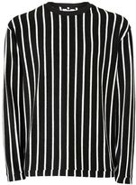 Topman Black And White Stripe Towelling Sweatshirt