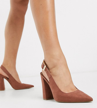 ASOS DESIGN Wide Fit Planet slingback high block heels in mocha