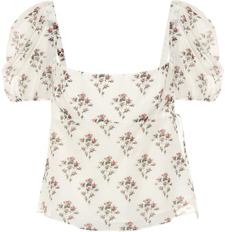 Brock Collection Roseto floral cotton and silk top