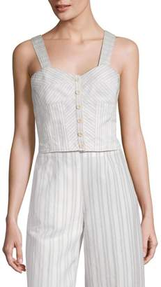 Rebecca Taylor Sleeveless Striped Suit Top