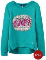 Joules Girls Mart Screenprint Sequin Sweatshirt
