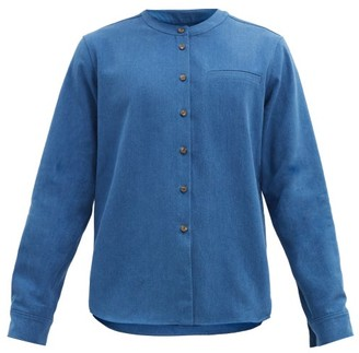 KING & TUCKFIELD Band-collar Denim Shirt - Blue