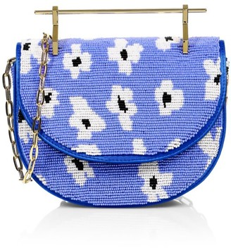M2Malletier Mini Floral Beaded Halfmoon Top Handle Bag