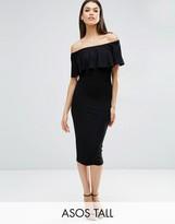 ASOS Tall ASOS TALL Ruffle Off Shoulder Bardot Pencil Midi Dress