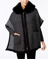 Steve Madden Zip-Front Faux-Fur Hooded Poncho