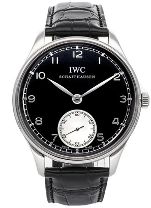 IWC Black Stainless Steel and Leather Portuguese Hand-Wound IW5454-04 Men's Wristwatch 44MM