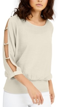 Thalia Sodi Gauze Cutout-Sleeve Top, Created for Macy's