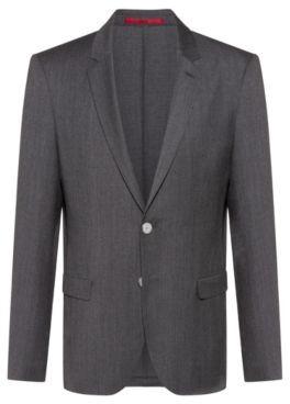 HUGO BOSS Extra Slim Fit Jacket In Wool Flannel - Grey