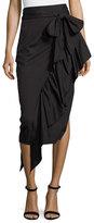 Milly Cascading Ruffle Stretch-Poplin Midi Skirt, Black