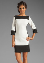 Thumbnail for your product : Shoshanna Double Crepe 2 Combo Vicki Dress in Winter White with Black