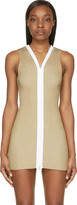 Calvin Klein Collection Beige Ribbed Knit Red Dress
