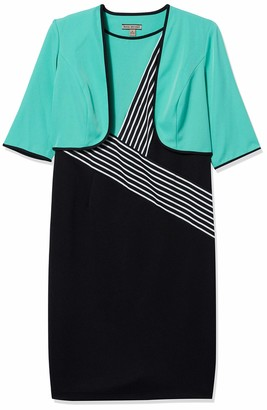 Maya Brooke Women's Zig Zag Striped Jacket Dress