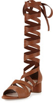 Miu Miu Leather Ankle-Wrap Gladiator Sandal, Cuoio