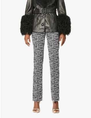 Saks Potts Lissi logo-print wide-leg high-rise stretch-woven trousers