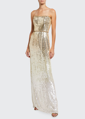 Jenny Packham Ombre Sequin Strapless Column Gown