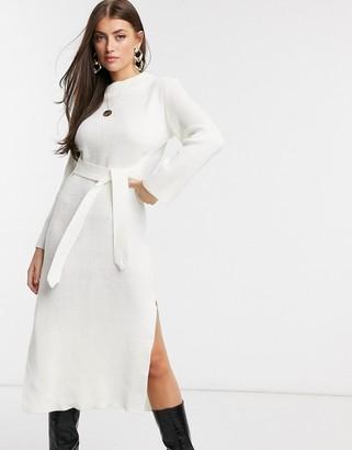 UNIQUE21 roll neck maxi jumper dress in white