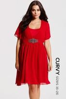 Little Mistress Curvy Red Embellished Chiffon Dress