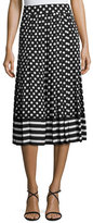 Kate Spade Dotted & Striped Pleated Midi Skirt, Black/Cream