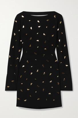Diane von Furstenberg Lisandra Embellished Cutout Draped Crepe Mini Dress - Black