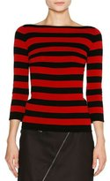 Tomas Maier Striped Boat-Neck 3/4-Sleeve Tee, Black/Pomegranate