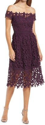 Chi Chi London Lizana Off the Shoulder Lace Fit & Flare Dress