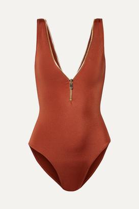 Oye Swimwear OYE Swimwear - Lea Zip-embellished Swimsuit - Brown