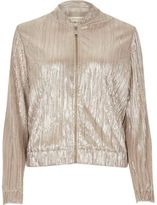 River Island Womens Gold crinkle bomber jacket