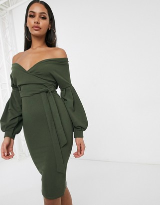Femme Luxe off shoulder flutter sleeve pencil dress in khaki-Green