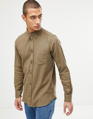 French Connection Plain Flannel Shirt-Green