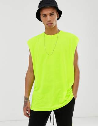 Asos Design DESIGN oversized longline sleeveless t-shirt in neon yellow