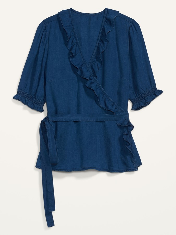 Thumbnail for your product : Old Navy Ruffled Chambray Tie-Belt Wrap Top for Women
