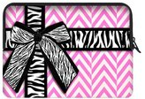 "Laptop Sleeve Modern Design Girly Pink & Chevron with Zebra Prints Ribbon Bow Theme Soft Water-proof Neoprene Carrying Case Sleeve Bag For Macbook, Macbook Air/Pro 17 Inch All 17"" Laptop Notebook(two sides)"
