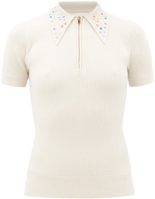 JoosTricot Peachskin Crystal-collar Polo Shirt - Ivory