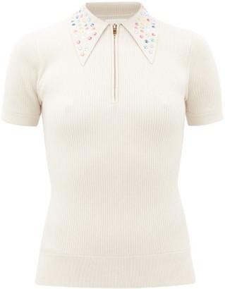 JoosTricot Peachskin Crystal-collar Polo Shirt - Ivory