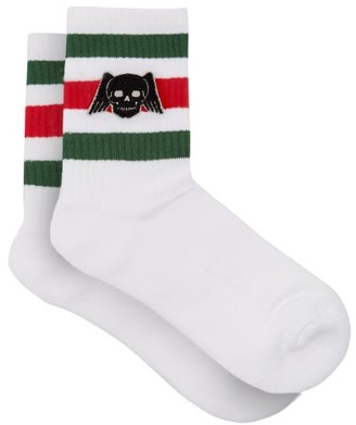 Gucci Skull Stripe Sport Socks - White