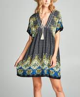 Love, Kuza Women's Casual Dresses Yellow/Navy - Yellow & Navy Floral Dolman Dress - Women