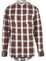 River Island MensRed check grandad Oxford shirt