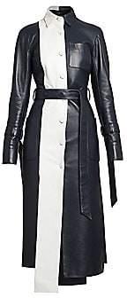 Rokh Women's Leather Panel Shirt Dress