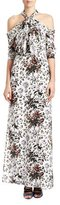 Erdem Floral Cold-Shoulder Halter Gown, White/Multi