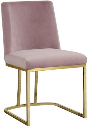 Verlaine Set Of 2 Heidi Pink Velvet Dining Chairs