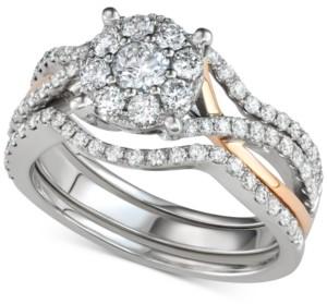 Macy's 3-Pc. Diamond Halo Openwork Bridal Set (1-1/7 ct. t.w.) in 14k White & Rose Gold