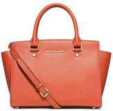 MICHAEL Michael Kors Selma Medium Top-Zip Satchel Bag, Orange