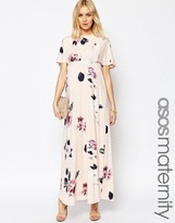Asos Angel Sleeve Maxi With Lace Inserts in Spaced Floral Print
