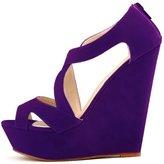 fereshte Women's Faux Velvet Gladiator Strappy Dress Platform High Wedge Sandals EU 38 - US 7.5