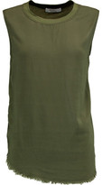 Bailey 44 Frayed Jersey-Paneled Crepe De Chine Tank