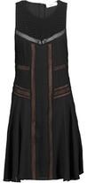 A.L.C. Elin Paneled Pintucked Silk Crepe De Chine Mini Dress