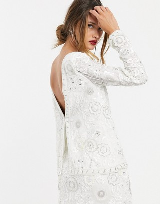 Asos EDITION floral embellished v back top