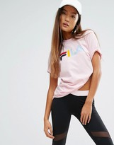 Fila Relaxed Boyfriend T-Shirt With Multi Color Logo