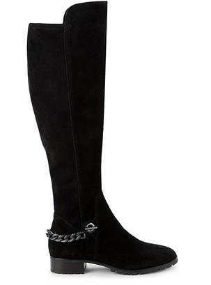 Karl Lagerfeld Paris Shay Chain-Trim Suede Knee-High Boots